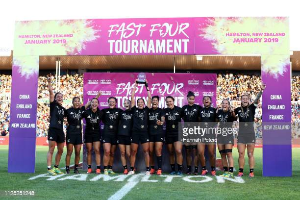 The New Zealand Black Ferns celebrate after winning the Fast Four Tournament against France during day two of the 2019 Hamilton Sevens at FMG Stadium...
