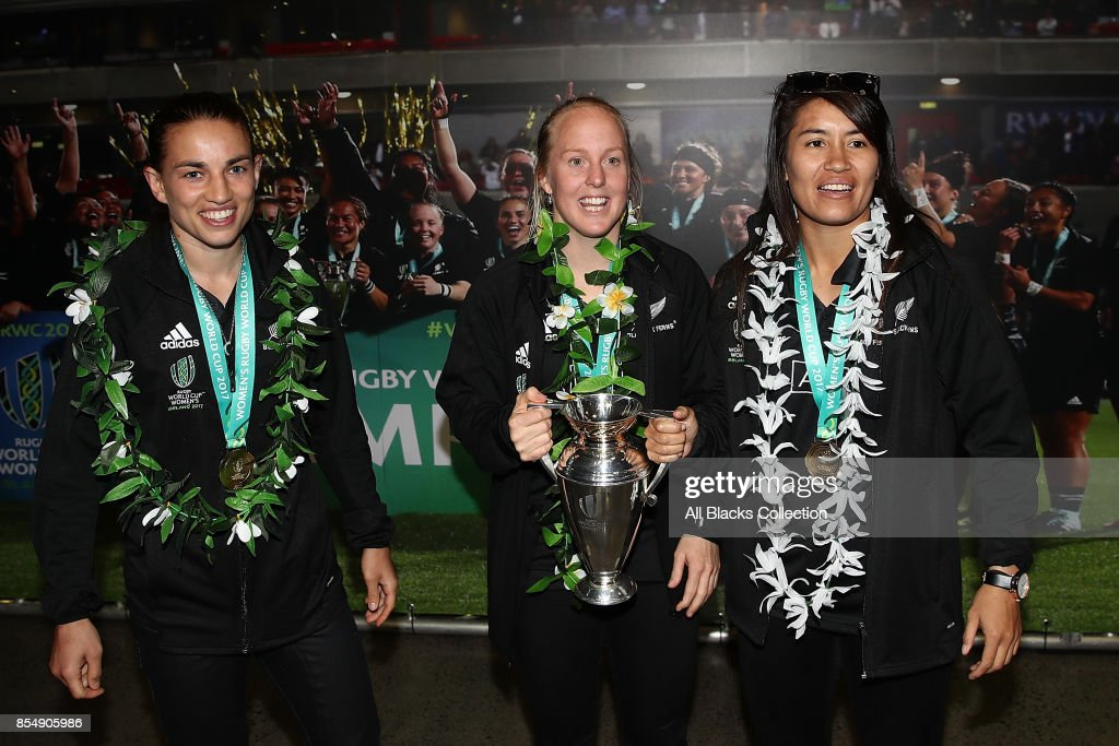 The New Zealand Black Ferns meet young fans during the New Zealand Black Ferns celebration at Vodafone Events Centre on September 28, 2017 in Manukau City, New Zealand. The New Zealand Black Ferns continue celebrations for their 2017 Rugby World Cup win.