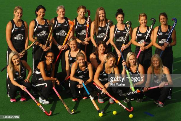 The New Zealand Black Sticks Womens Olympic Team pose for a team photo during the New Zealand Hockey Olympic Games Team Announcement at Hockey NZ on...