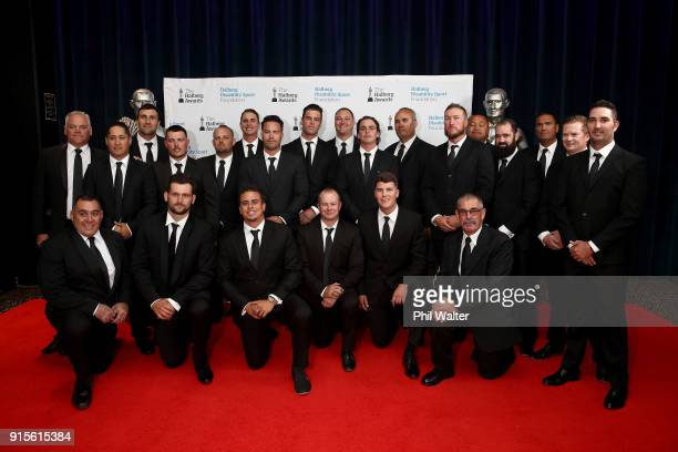 The New Zealand Blacksox pose for a photo as they arrive ahead of the 55th Halberg Awards at Spark Arena on February 8 2018 in Auckland New Zealand