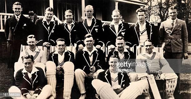 The New Zealand cricket team during their tour of England in 1931 Back row Ian Cromb Jack Kerr Ken James Ron Talbot Lindsay Weir Bill Merritt Mal...