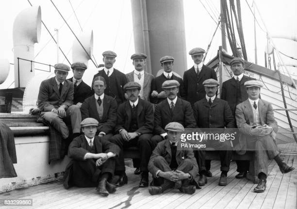 The New Zealand cricket team pictures by the 'Corinthie' Back Row PR May JWHT Douglas AA Terrens RH Fox W Burns GT Branston J Moss Middle Row WEF...