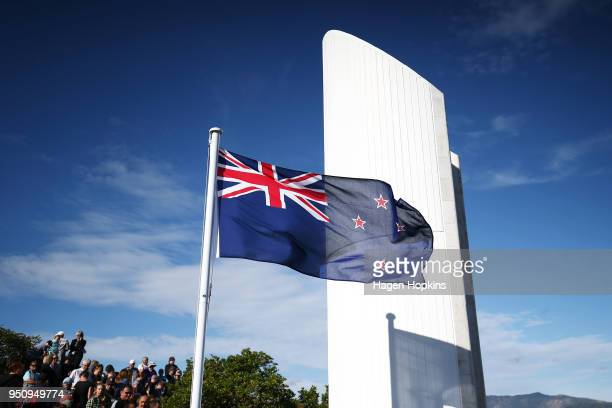 The New Zealand flag flies during the Ataturk Memorial Service at Ataturk Memorial on April 25 2018 in Wellington New Zealand In 1916 the first Anzac...
