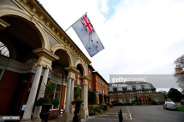 The New Zealand flag is erected from the New Zealand All Black team hotel at Oatlands Park on October 22 2015 in London United Kingdom