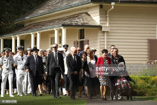 The New Zealand Governor General Dame Patsy Reddy holds hands with Titewhai Harawira as she is given a traditional Powhiri onto the Waitangi Treaty...