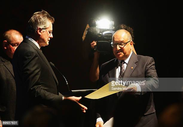 The New Zealand Governor General Hon Sir Anand Satyanand presents a Royal Warrant to Sir John Walker during the New Zealand Olympic Committee Three...