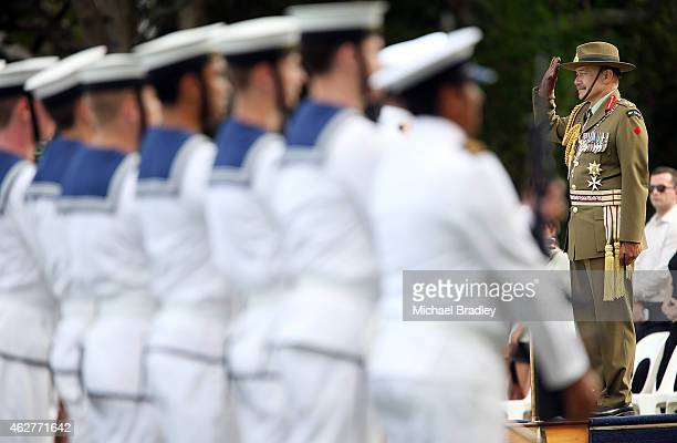 The New Zealand GovernorGeneral Lt Gen The Rt Hon Sir Jerry Mateparae inspects the guard of honour as the Royal New Zealand Navy and Navy Band...