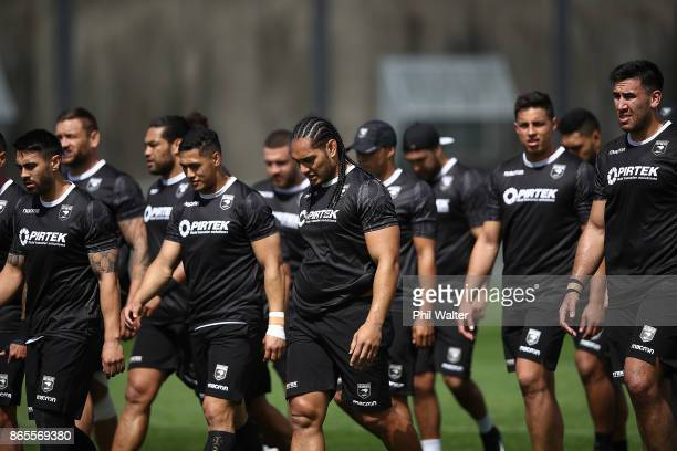 The New Zealand Kiwis during a New Zealand Kiwis Rugby League World Cup Training Session at the Warriors training Grounds on October 24 2017 in...