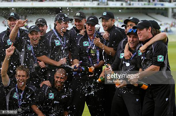 The New Zealand led by captain Daniel Vettori spray champagne after New Zealand took the series 31 after the fifth NatWest One Day International...