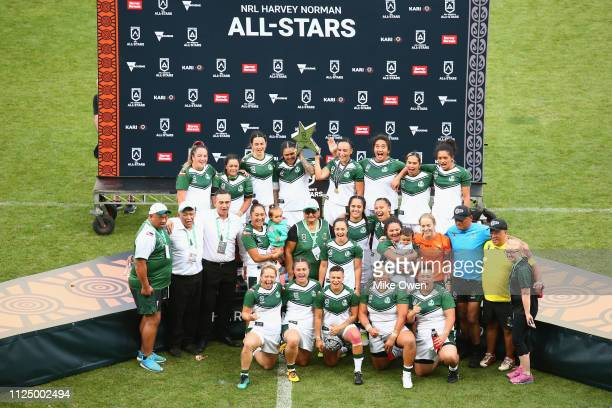 The New Zealand Maori Ferns celebrate after winning the NRL Exhibition match between the Women's Indigenous All Stars and the Maori All Stars at AAMI...