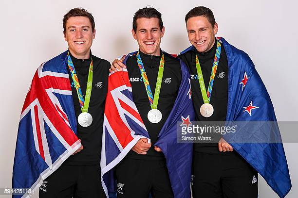 The New Zealand Men's Olympic Track Cycling sprint team L_R Ethan Mitchell Sam Webster and Eddie Dawkins pose for a portrait with their Silver Medals...