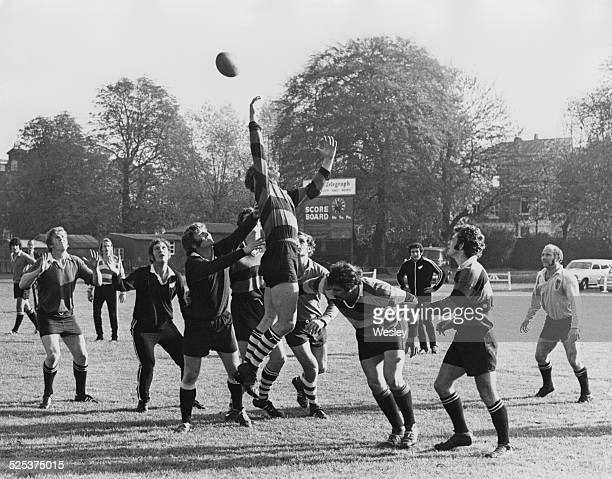 The New Zealand national rugby union team the All Blacks in training at Richmond Athletic Ground Surrey having just arrived for their tour of Britain...