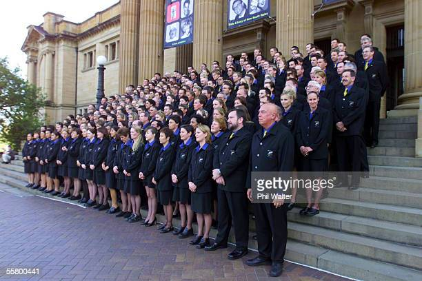 The New Zealand Olympic team pose for their official team photo outside the NSW Parliament before a reception held prior to the start of the 2000...