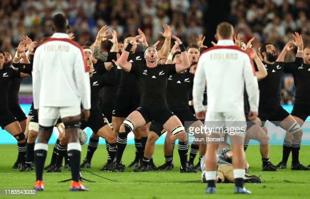 The New Zealand perform the haka prior to the Rugby World Cup 2019 SemiFinal match between England and New Zealand at International Stadium Yokohama...
