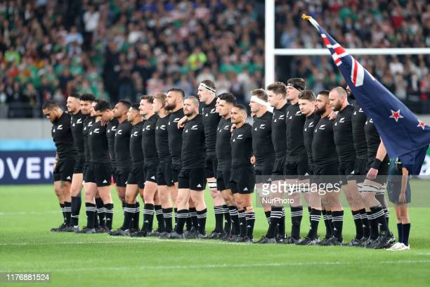 The New Zealand players line up for the national anthem prior to the Rugby World Cup 2019 Quarter Final match between New Zealand and Ireland at the...