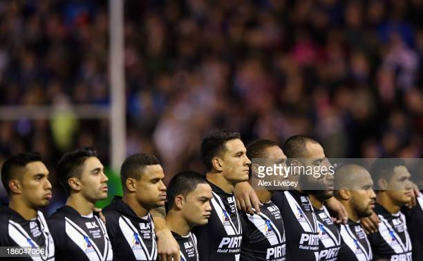 The New Zealand players line up for their national anthem prior to the Rugby League World Cup Group B match between New Zealand and Samoa at the...