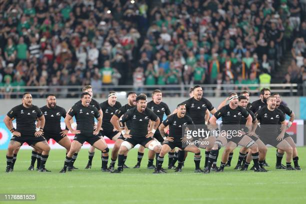 The New Zealand players perform The Haka prior to the Rugby World Cup 2019 Quarter Final match between New Zealand and Ireland at the Tokyo Stadium...