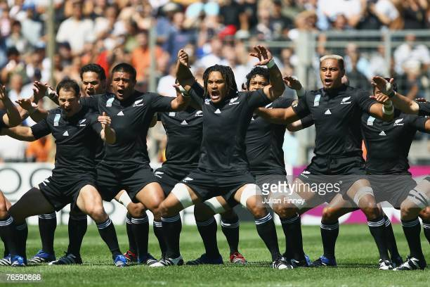 The New Zealand players perform the Haka prior to the start of Match Two of the Rugby World Cup 2007 between New Zealand and Italy at the Stade...