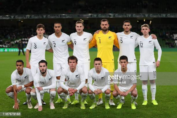The New Zealand players pose for a team photo prior to the International Friendly match between Ireland and New Zealand at Aviva Stadium on November...