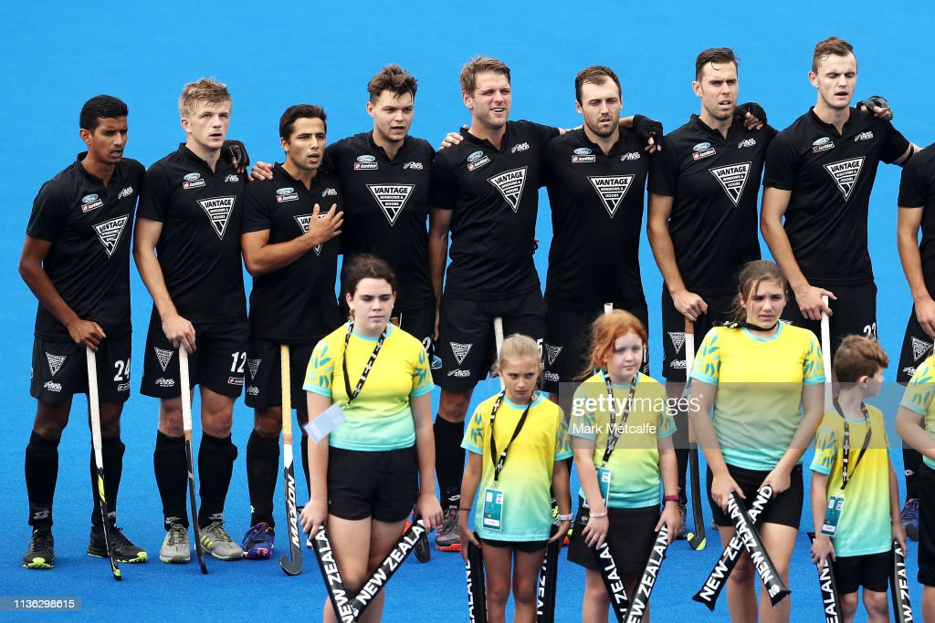 The New Zealand Players Sing The National Anthem Before The Fih
