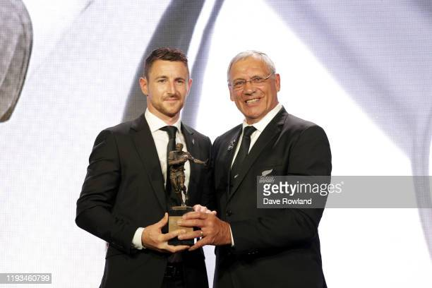 The New Zealand Rugby Referee of the Year is Paul Williams with Bill Osbourne President NZ Rugby during the New Zealand Rugby Awards at the Sky City...
