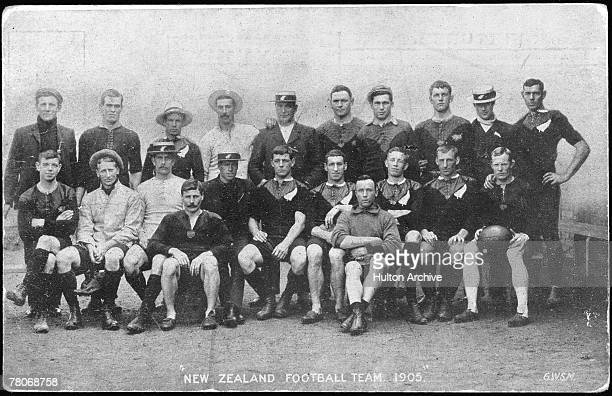 The New Zealand rugby team before their tour of Britain, September-December 1905. By the end of the tour, the team had, for the first time, become...