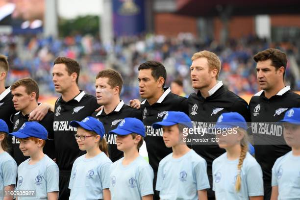 The New Zealand side line up for the national anthems during the SemiFinal match of the ICC Cricket World Cup 2019 between India and New Zealand at...