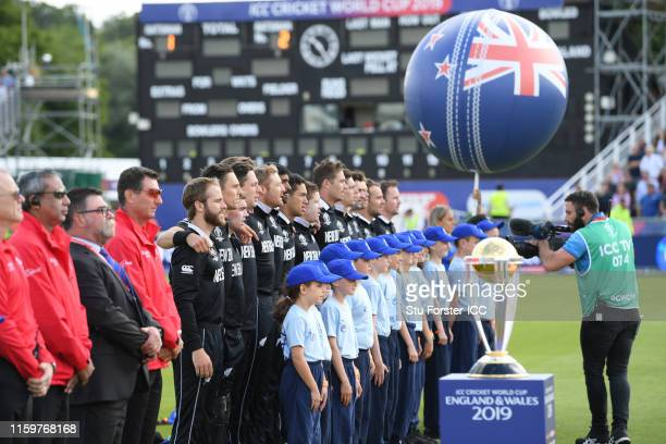 The New Zealand side line up for the national anthems during the Group Stage match of the ICC Cricket World Cup 2019 between England and New Zealand...