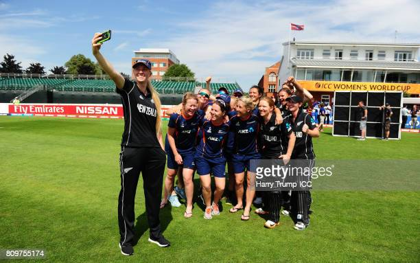 The New Zealand side pose for a selfie during the ICC Women's World Cup 2017 match between New Zealand and the West Indies at The Cooper Associates...
