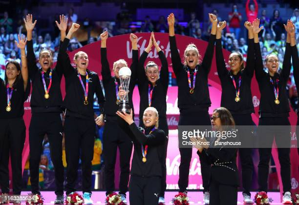 The New Zealand team captain Laura Langman lifts The World Cup Trophy on Day 10 of The Vitality Netball World Cup at MS Bank Arena on July 21 2019 in...