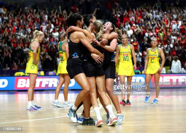The New Zealand team celebrate together after winning The Final of The Vitality Netball World Cup between New Zealand and Australia at MS Bank Arena...