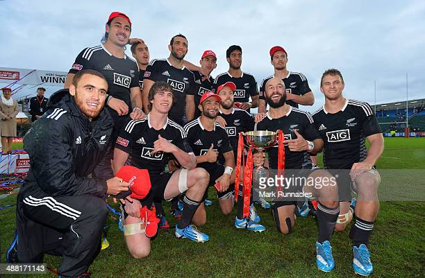 The New Zealand team celebrate winning the HSBC Sevens World Series round 8 during the IRB Glasgow Sevens Day Two at Scotstoun Stadium on May 4 2014...