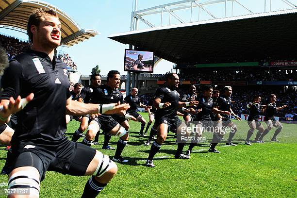 The New Zealand team do The Haka to the Portugese team prior to match fourteen of the Rugby World Cup 2007 between New Zealand and Portugal at the...