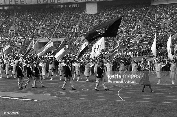 The New Zealand team enter the stadium behind their flag bearer As New Zealand officially boycotted the games their athletes competed under the New...