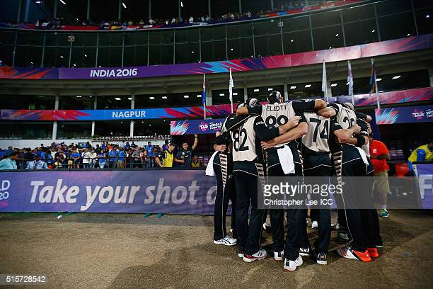 The New Zealand team group huddle before they take the field during the ICC World Twenty20 India 2016 Group 2 match between New Zealand and India at...