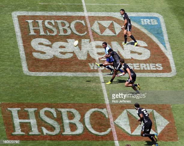 The New Zealand team kick off during the Hertz Sevens Round four of the HSBC Sevens World Series Westpac Stadium on February 2 2013 in Wellington New...