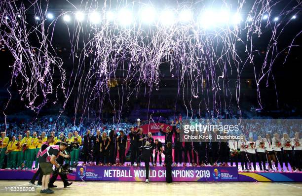 The New Zealand team lift The World Cup Trophy on Day 10 of The Vitality Netball World Cup at MS Bank Arena on July 21 2019 in Liverpool England