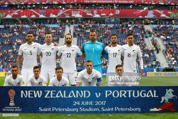 The New Zealand team line up prior to the FIFA Confederations Cup Russia 2017 Group A match between New Zealand and Portugal at Saint Petersburg...