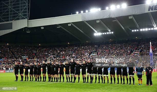 The New Zealand team lineup for the national anthems prior to kickoff during the 2015 Rugby World Cup Pool C match between New Zealand and Tonga at...