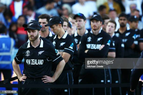 The New Zealand team look dejected after defeat during the Final of the ICC Cricket World Cup 2019 between New Zealand and England at Lord's Cricket...
