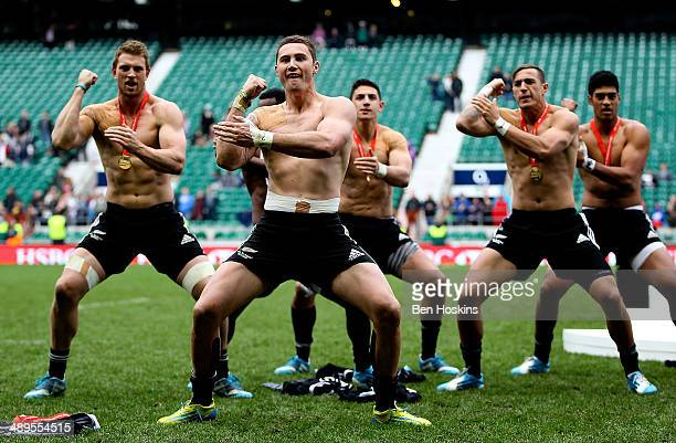 The New Zealand team perform a haka during The Marriott London Sevens Day 2 at Twickenham Stadium on May 11 2014 in London England