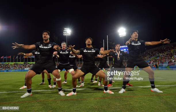 The New Zealand team perform a Haka following their victory during the Men's Rugby Sevens placing match between New Zealand and Argentina on day six...