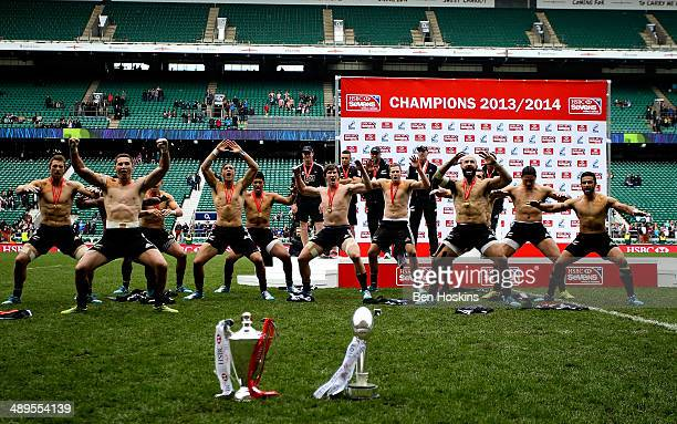 The New Zealand team perform a Haka in front of the two trophies during The Marriott London Sevens Day 2 at Twickenham Stadium on May 11 2014 in...
