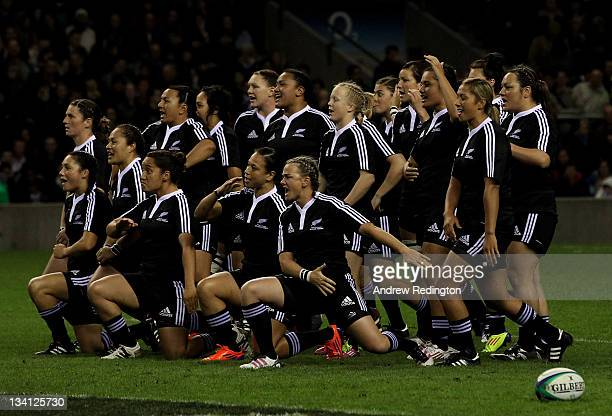 The New Zealand team perform a Haka prior to kickoff during the Women's Rugby Union International match bertween England and New Zealand at...