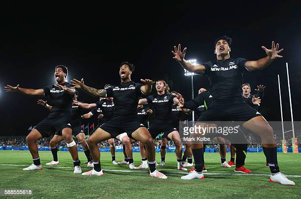 The New Zealand team perform a post match haka after the Men's Rugby Sevens placing 56 match between New Zealand and Argentina on Day 6 of the Rio...