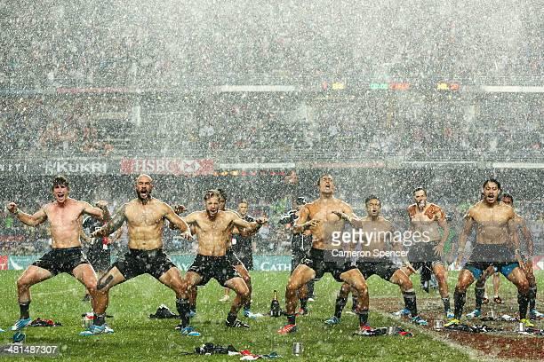 The New Zealand team perform the Haka after winning the Cup Final between England and New Zealand during the 2014 Hong Kong Sevens at Hong Kong...