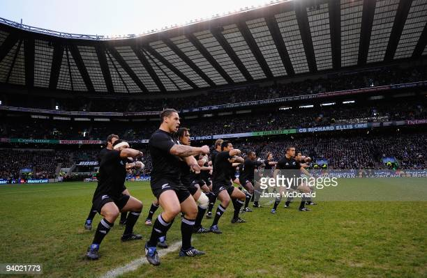 The New Zealand team perform the Haka during the MasterCard Trophy match between Barbarians and New Zealand at Twickenham Stadium on December 5, 2009...