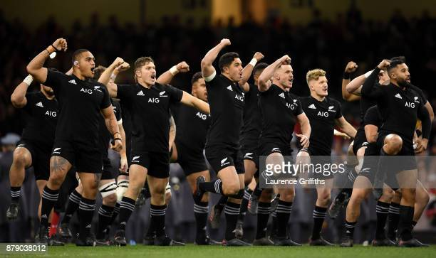 The New Zealand team perform the Haka prior to the International match between Wales and New Zealand at Principality Stadium on November 25 2017 in...