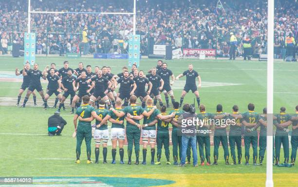 The New Zealand team performing the haka during the Rugby Championship 2017 match between South Africa and New Zealand at DHL Newlands on October 07...