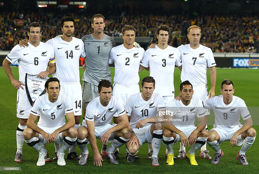 The New Zealand team poses for a photo before the start of the 2010 FIFA World Cup Pre-Tournament match between the Australian Socceroos and the New Zealand All Whites at Melbourne Cricket Ground on May 24, 2010 in Melbourne, Australia.